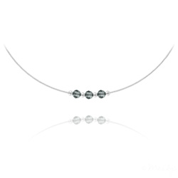 Collier en Cristal et Argent Collier 3 Rondes à Facettes en Argent et Cristal Black Diamond