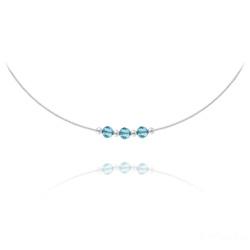 Collier 3 Rondes à Facettes en Argent et Cristal Bleu
