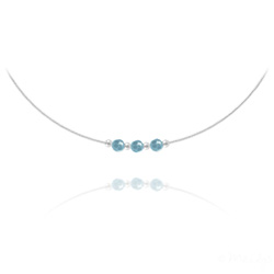 Collier 3 Rondes à Facettes en Argent et Cristal Turquoise