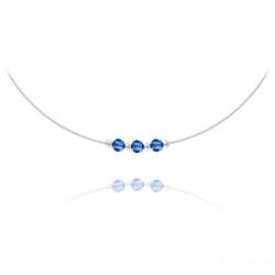 Collier 3 Rondes à Facettes en Argent et Cristal Capri Blue