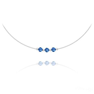 Collier en Cristal et Argent Collier 3 Rondes à Facettes en Argent et Cristal Capri Blue