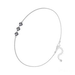 Bracelet en Cristal et Argent Bracelet 3 Rondes à Facettes en Argent et Cristal Silver Night