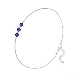 Bracelet 3 Rondes à Facettes en Argent et Cristal Purple Velvet