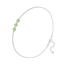Bracelet 3 Rondes à Facettes en Argent et Cristal Vert Péridot