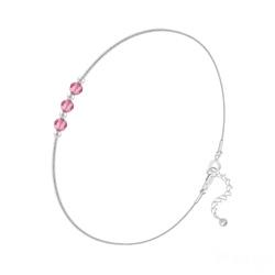 Bracelet 3 Rondes à Facettes en Argent et Cristal Light Rose