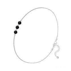 Bracelet 3 Rondes à Facettes en Argent et Cristal Jet (Noir)