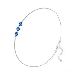 Bracelet 3 Rondes à Facettes en Argent et Cristal Capri Blue
