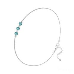 Bracelet 3 Rondes à Facettes en Argent et Cristal Bleu Zircon
