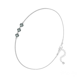 Bracelet 3 Rondes à Facettes en Argent et Cristal Black Diamond