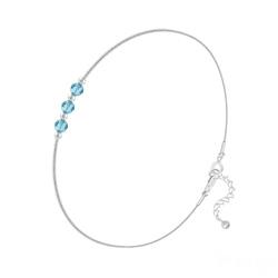 Bracelet 3 Rondes à Facettes en Argent et Cristal Bleu