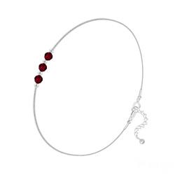 Bracelet 3 Rondes à Facettes en Argent et Cristal Rouge Siam