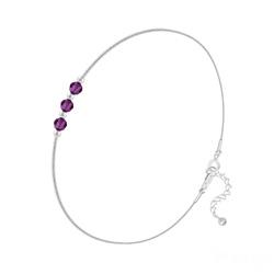 Bracelet 3 Rondes à Facettes en Argent et Cristal Améthyste