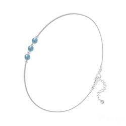Bracelet 3 Rondes à Facettes en Argent et Cristal Turquoise