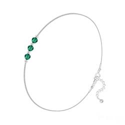 Bracelet 3 Rondes à Facettes en Argent et Cristal Emeraude
