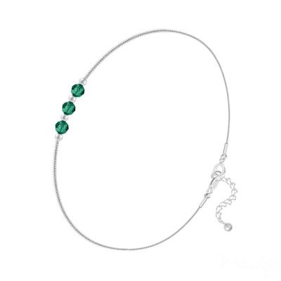 Bracelet en Cristal et Argent Bracelet 3 Rondes à Facettes en Argent et Cristal Emeraude