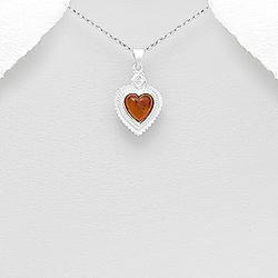 Pendentif Coeur en Ambre et Argent