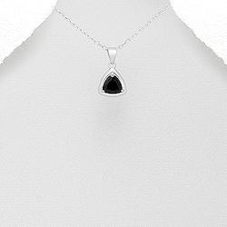 Pendentif Triangle en Argent et Zirconium Noir