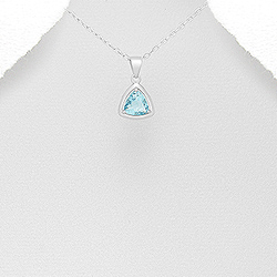 Pendentif Triangle en Argent et Zirconium Bleu