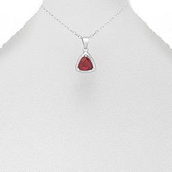 Pendentif Triangle en Argent et Zirconium Rouge