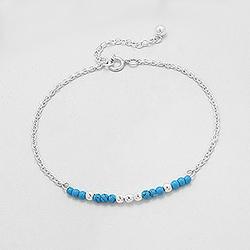 Bracelet Perle Turquoise et Argent