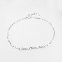 Bracelet en Argent 9 Perles sur Chaîne