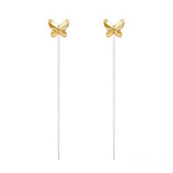 Chaînes d'Oreilles Papillon 8MM en Argent et Cristal Golden Shadow