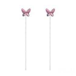 Chaînes d'Oreilles Papillon 8MM en Argent et Cristal Antique Pink