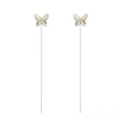 Chaînes d'Oreilles Papillon 8MM en Argent et Cristal Silver Shade