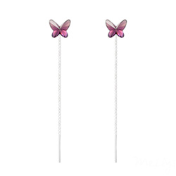 Chaînes d'Oreilles Papillon 8MM en Argent et Cristal Améthyste