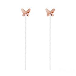 Chaînes d'Oreilles Papillon 8MM en Argent et Cristal Rose Peach
