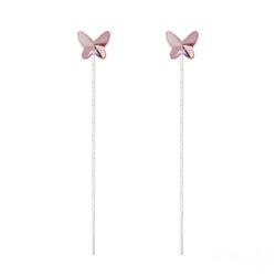 Chaînes d'Oreilles Papillon 8MM en Argent et Cristal Light Rose