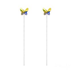 Chaînes d'Oreilles Papillon 8MM en Argent et Cristal Aurore Boréale