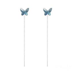 Chaînes d'Oreilles Papillon 8MM en Argent et Cristal Denim Blue