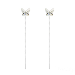 Chaînes d'Oreilles Papillon 8MM en Argent et Cristal Blanc