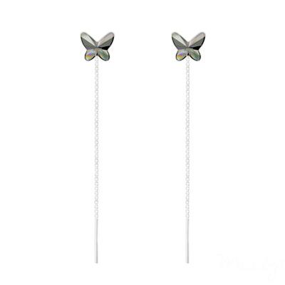 Boucles d'Oreilles en Cristal et Argent Chaînes d'Oreilles Papillon 8MM en Argent et Cristal Silver Night