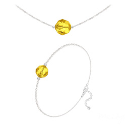 Parure Perles 10mm/8mm en Argent et Cristal Sun Flower