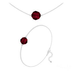 Parure Perles 10mm/8mm en Argent et Cristal Rouge Siam