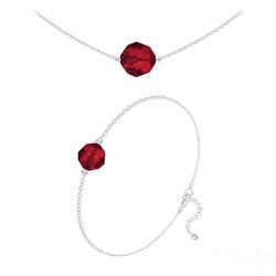 Parure Perles 10mm/8mm en Argent et Cristal Rouge Light Siam