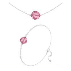 Parure Perles 10mm/8mm en Argent et Cristal Light Rose