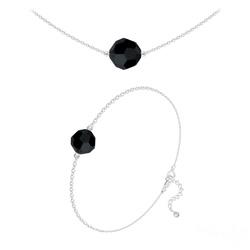 Parure Perles 10mm/8mm en Argent et Cristal Jet (Noir)