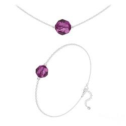 Parure Perles 10mm/8mm en Argent et Cristal Fuchsia