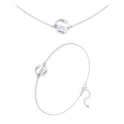 Parure Perles 10mm/8mm en Argent et Cristal Aurore Boréale
