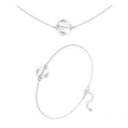 Parure Perles 10mm/8mm en Argent et Cristal Blanc