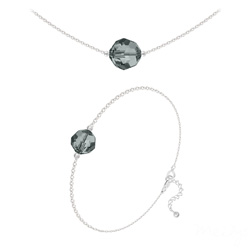 Parure Perles 10mm/8mm en Argent et Cristal Black Diamond