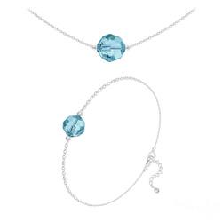 Parure Perles 10mm/8mm en Argent et Cristal Bleu