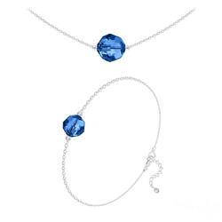 Parure Perles 10mm/8mm en Argent et Cristal Capri Blue