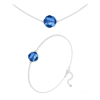 Parure en Cristal et Argent Parure Perles 10mm/8mm en Argent et Cristal Capri Blue