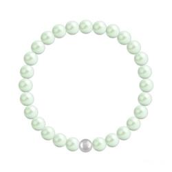 Bracelet 6mm en Argent et Perles de Cristal Nacré Pastel Green