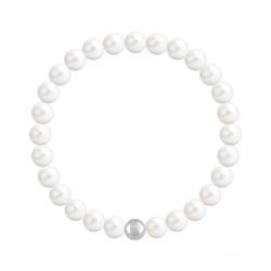Bracelet en Cristal et Argent Bracelet 6mm en Argent et Perles de Cristal Nacré Ivory