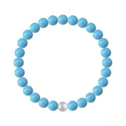 Bracelet 6mm en Argent et Perles de Cristal Nacré Turquoise